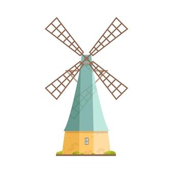 Stary wiatrak na białym tle. holenderski fartuch lub młyn wieżowy. konstrukcja rolnicza z mechanizmem obrotowym