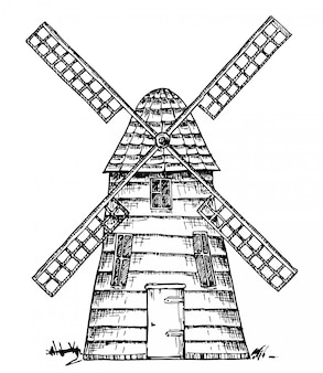 Stary wiatrak na białym tle