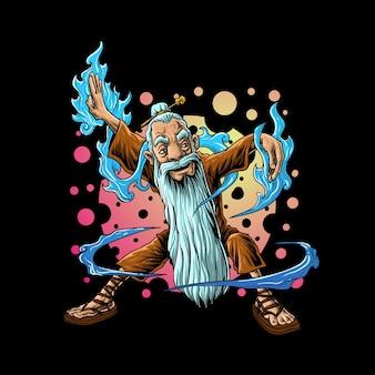 Stary wojownik z długą brodą ilustracja kreskówka