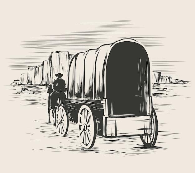 Stary wóz na prerii dzikiego zachodu. pionier na wózku do przewozu koni