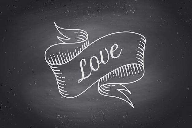 Stary wzór wstążki z tekstem miłość w stylu grawerowania