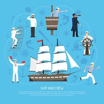 Stary żaglówka żeglarz skład retro