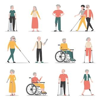 Stary zestaw osób niepełnosprawnych. zbiór postaci z niepełnosprawnością