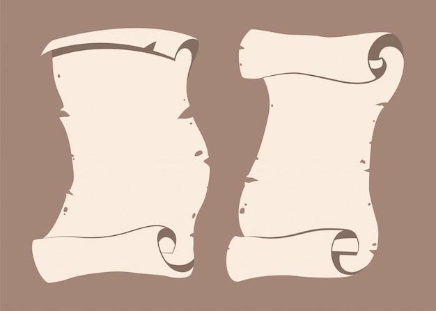 Stary zestaw papieru przewiń kreskówka na białym tle na tle.