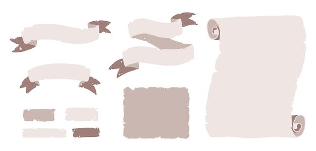 Stary zestaw papirusów, kawałki papieru i nieszczelne wstążki na napisy dla dzieci, zaproszenia na halloween, imprezy pirackie itp. na białym tle ilustracja w stylu wyciągnąć rękę kreskówka na białym tle.