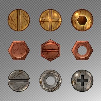 Stary zestaw śrub i gwoździ, metalowe śruby, nity