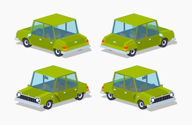 Stary zielony izometryczny sedan 3d lowpoly