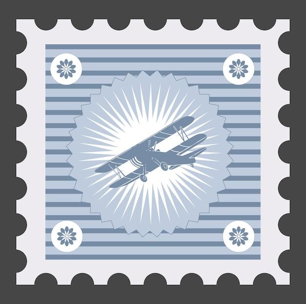 Stary znaczek pocztowy z wizerunkiem samolotu.