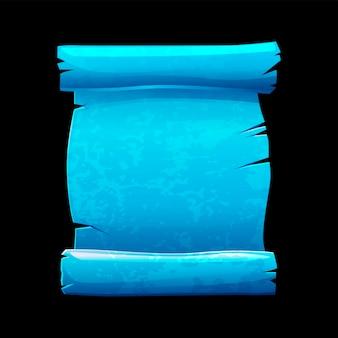 Stary zwój niebieskiego papieru, podarty papirus vintage do gry. ilustracja czysty szablon papieru do pisania.