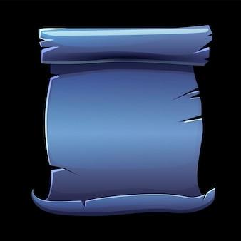 Stary zwój niebieskiego papieru, pusty szablon do gry. ilustracja papirusu do rękopisu.