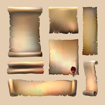 Stary zwój papieru z arkuszami różnej wielkości woskowej pieczęci na beżowym tle