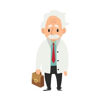 Starzec z wąsem stojący z torbą medyczną w dłoni.