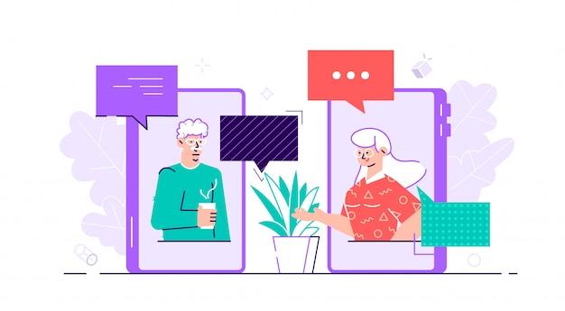Starzejąca się rodzinna pary mężczyzna mężczyzna kobiety komunikacja używa mądrze telefon wideo rozmowę. starsi ludzie rozmawiają, rozmawiają, rozmawiają, plotkują na tematy w sieciach społecznościowych. ilustracja charakter płaski