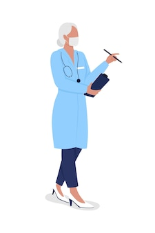 Starzenie się lekarz pół płaski kolor wektor znak