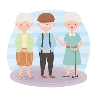 Starzy ludzie, babcie i dziadek razem postaci z kreskówek