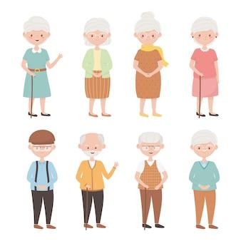 Starzy ludzie, grupa dziadków, dziadków babć, starsze postaci z kreskówek