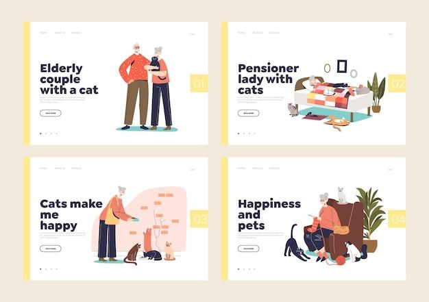 Starzy ludzie i koty. rysunkowi emeryci opiekujący się zwierzętami domowymi