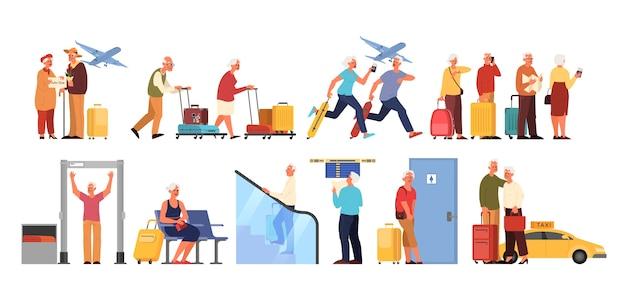 Starzy ludzie na lotnisku et. idea podróży i turystyki. starszy mężczyzna przy skanerze, przylot samolotu. pasażer z bagażem.
