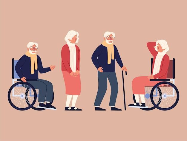 Starzy ludzie niepełnosprawni kij na wózku inwalidzkim