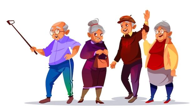 Starzy ludzie robi fotografii selfie ilustraci. kreskówka starszego mężczyzny i kobiety, uśmiechając się