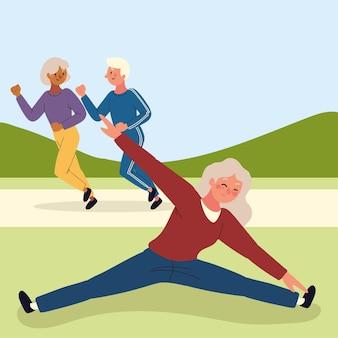 Starzy ludzie robią ćwiczenia