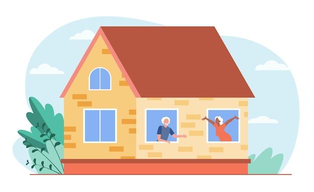 Starzy ludzie rozmawiają przez okna. dom, miłość, emeryt płaski wektor ilustracja. komunikacja i emerytura