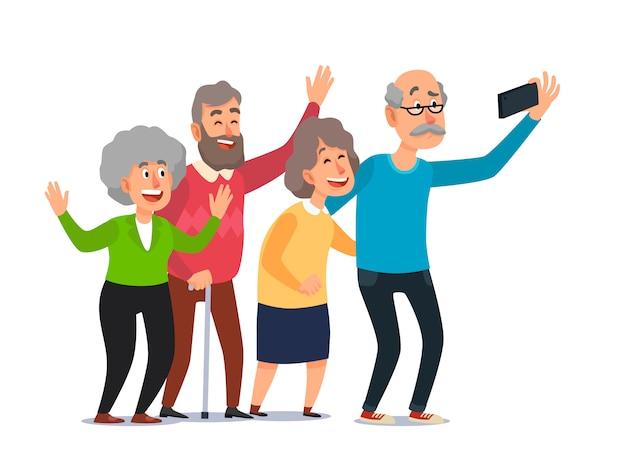 Starzy ludzie selfie, starsi ludzie bierze smartphone fotografię, szczęśliwa roześmiana grupa seniorów kreskówka