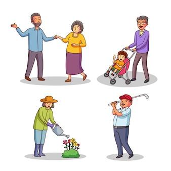 Starzy ludzie wykonujący różne czynności
