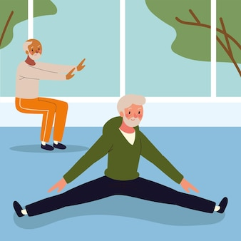 Starzy mężczyźni robiący ćwiczenia