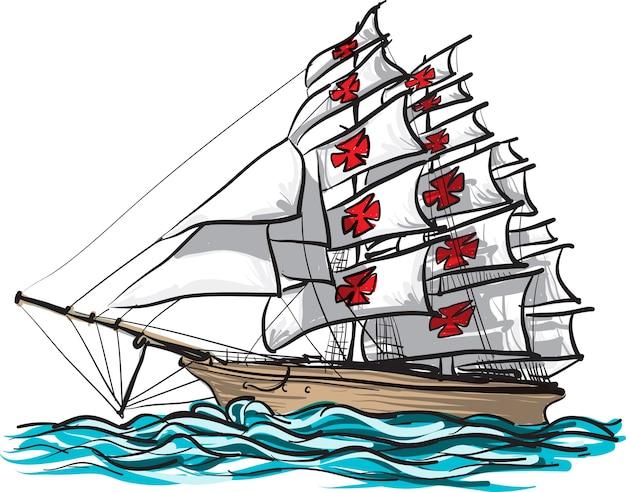 Statek columbus ręcznie rysować i malować na białym