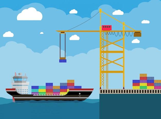 Statek i dźwig kontenerowy