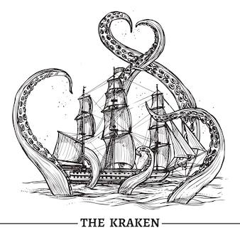 Statek i ośmiornica