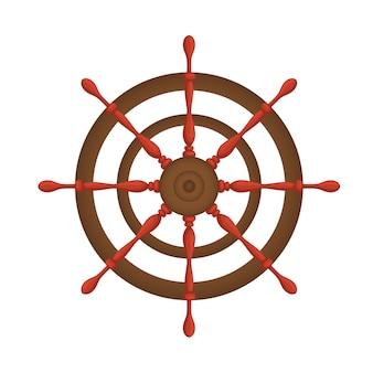 Statek koło morskie drewniane vintage ilustracja na białym tle.