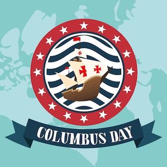 Statek kolumba w pieczęci z projektem wstążki szczęśliwego dnia kolumba w ameryce i motywu odkrycia