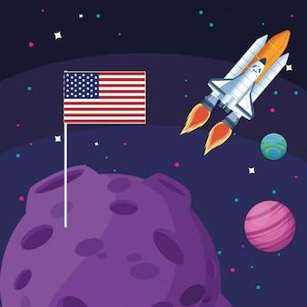 Statek kosmiczny amerykańską flagę w przestrzeni planet księżyca
