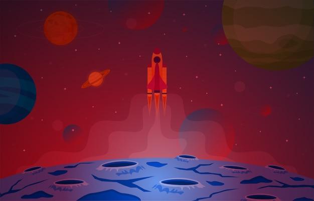 Statek kosmiczny eksploruj planetę sky