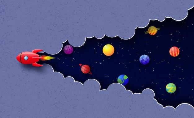Statek kosmiczny leci w kosmosie wśród chmur, gwiazd i planet tło kosmiczne w stylu cięcia papieru
