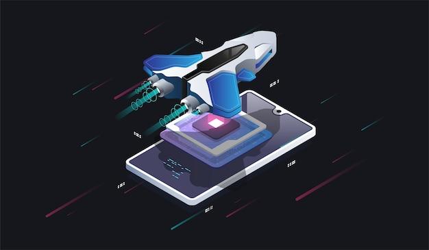Statek kosmiczny na ekranie telefonu. futurystyczny procesor z mikroczipem. cyfrowy chip. nowoczesny procesor. nowoczesna ilustracja izometryczna.