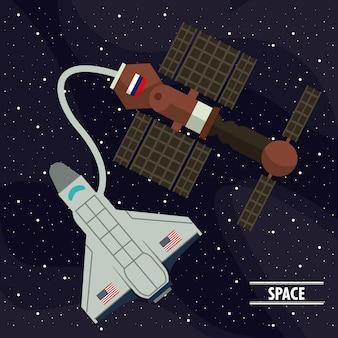 Statek kosmiczny podłączony do satelity na kosmosie