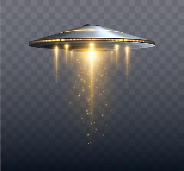 Statek kosmiczny ufo z wiązką światła na przezroczystym tle ilustracji wektorowych