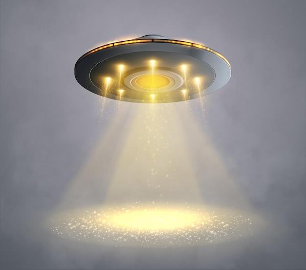 Statek kosmiczny ufo z żółtą wiązką światła na szarym tle ilustracji wektorowych