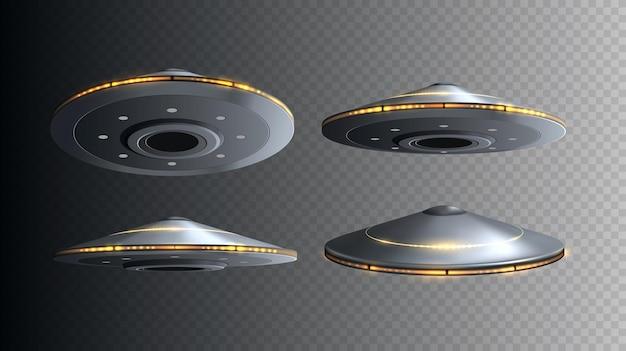 Statek kosmiczny ufo ze światłami na białym tle zestaw wektorów latających d obcych statków kosmicznych