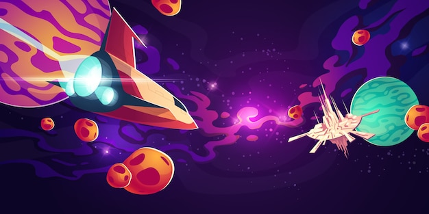Statek kosmiczny w kosmosie z planetami lub asteroidami