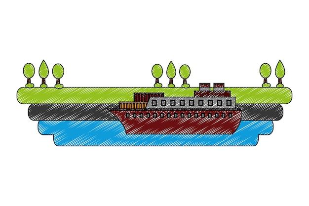 Statek łódź w morzu z krajobrazowym wektorowym ilustracyjnym projektem
