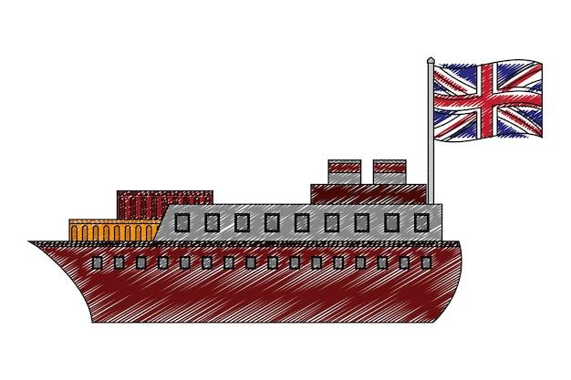 Statek łódź z flaga wielkiej brytanii