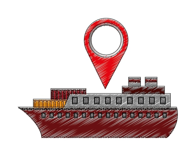 Statek łódź z pin lokalizacja wektor ilustracja projektu
