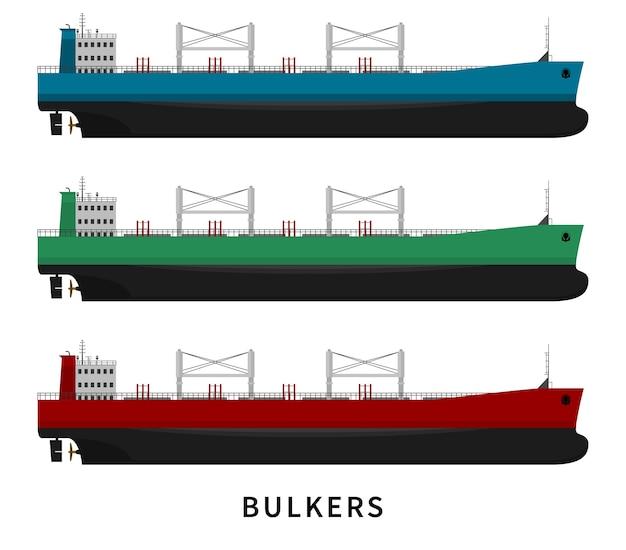 Statek masowy na białym tle. zestaw statku morskiego. ładunki suche wraz z towarem, import eksport eksport przemysł