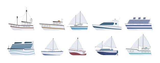 Statek morski. zestaw płaskiego jachtu, łodzi, parowca, promu, statku rybackiego, holownika, łodzi wycieczkowej, statku wycieczkowego. żaglówka odizolowywająca na białym tle. koncepcja transportu oceanicznego.