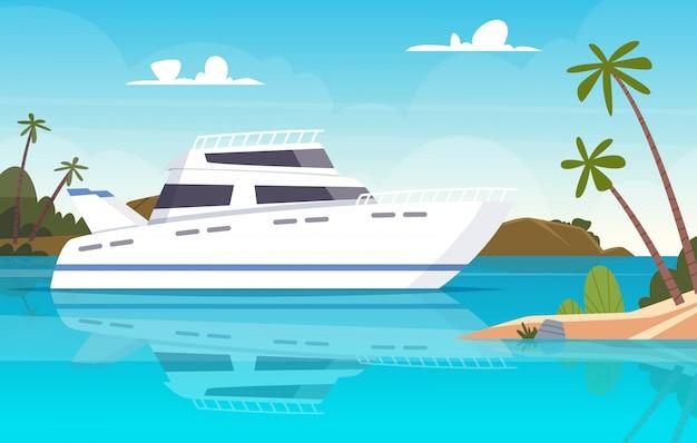 Statek na morzu. łodzie rybackie zmierzchu oceanu podwodny jacht lub naczynia tło