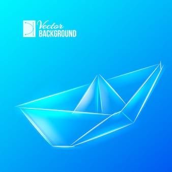 Statek origami na niebiesko
